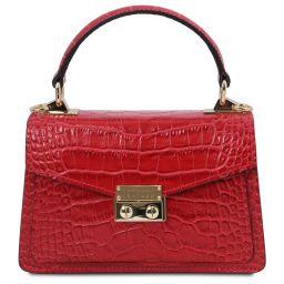 TL Bag Croc print leather mini bag Lipstick Red TL141995