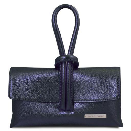 TL Bag Metallic leather clutch Dark Blue TL141993