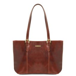 Annalisa Leather shopping bag with two handles Коричневый TL141710