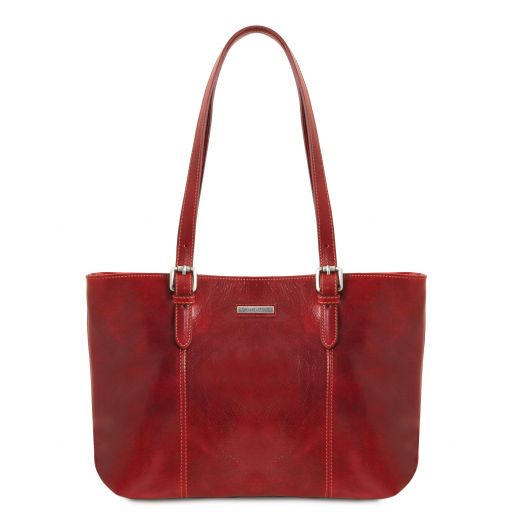 Annalisa Leather shopping bag with two handles Red TL141710