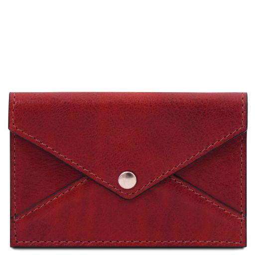 Porta biglietti da visita / carte di credito in pelle Rosso TL142036