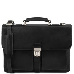 Assisi Leather briefcase 3 compartments Black TL141825