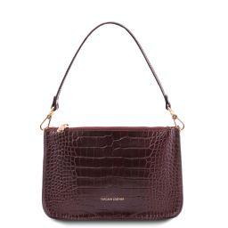 Cassandra Croc print leather clutch handbag Bordeaux TL142039