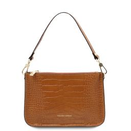 Cassandra Croc print leather clutch handbag Cinnamon TL142039