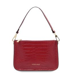 Cassandra Croc print leather clutch handbag Red TL142039