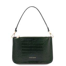 Cassandra Croc print leather clutch handbag Forest Green TL142039