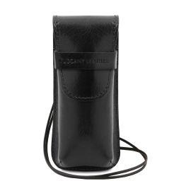 Exclusiva funda para gafas/Smartphone/porta reloj en piel con bandolera Negro TL141282