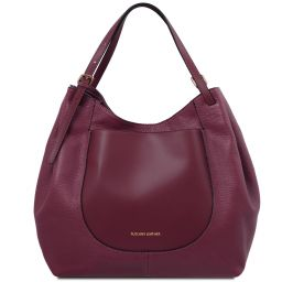 Cinzia Soft leather shopping bag Bordeaux TL141515