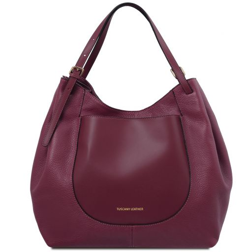Cinzia Soft leather shopping bag Bordeaux TL141515