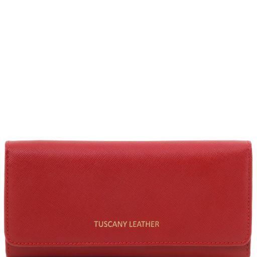 Esclusivo portafogli donna in pelle Saffiano a 2 scomparti Rosso TL141504