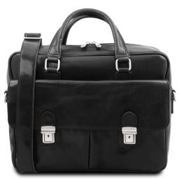 San Miniato Leather multi compartment laptop briefcase with two front pockets Black TL142026