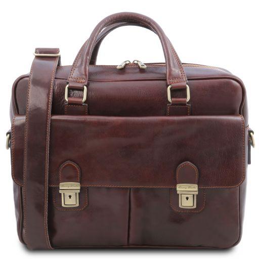 San Miniato Multifach-Notebooktasche aus Leder mit zwei aufgesetzte Taschen Braun TL142026