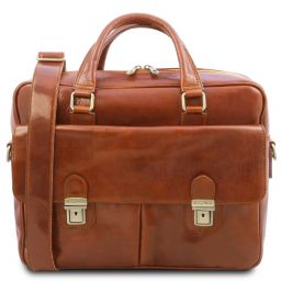 San Miniato Leather multi compartment laptop briefcase with two front pockets Honey TL142026