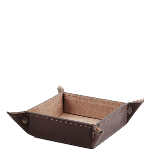 Exclusive leather valet tray small size Dark Brown TL141272