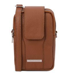 TL Bag Sac bandoulière pour portable en cuir souple Cognac TL141698