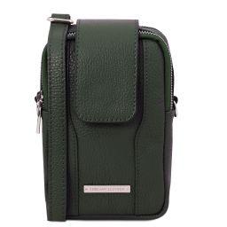 TL Bag Sac bandoulière pour portable en cuir souple Vert Forêt TL141698