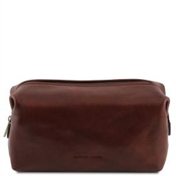 Smarty Leather toilet bag - Small size Brown TL141220