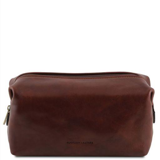 Smarty Reise - Kulturtasche aus Leder - Klein Braun TL141220