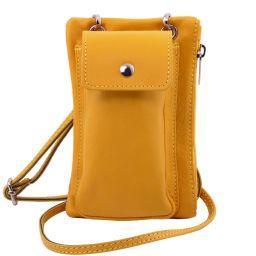 TL Bag Sac bandoulière pour portable en cuir souple Jaune TL141423