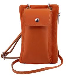 TL Bag Soft Leather cellphone holder mini cross bag Orange TL141423