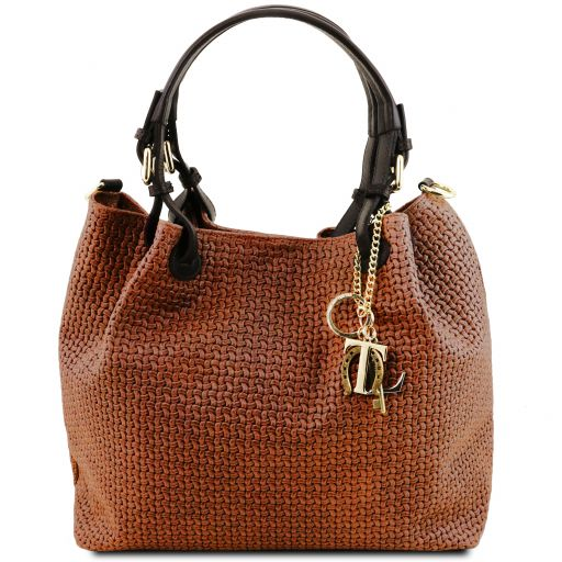 TL KeyLuck Woven printed leather shopping bag Cinnamon TL141573