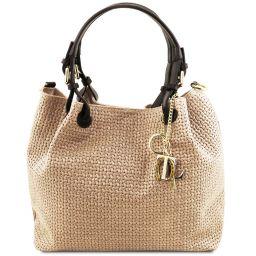 TL KeyLuck Bolso shopping en piel imprimida tejida Beige TL141573