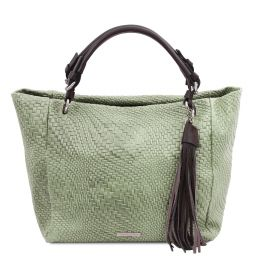 TL Bag Borsa shopping in pelle stampa intrecciata Verde Menta TL142066