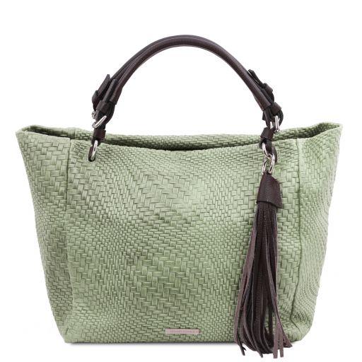 TL Bag Borsa shopping in pelle stampa intrecciata Verde Menta TL142066