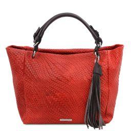 TL Bag Sac shopping en cuir imprimé tressé Rouge Lipstick TL142066