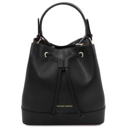 Minerva Leather bucket bag Black TL142050