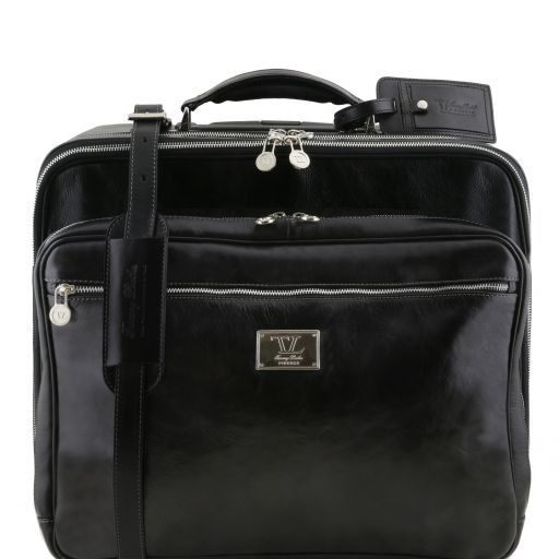 Varsavia Two compartments leather pilot case with two wheels Black TL141533