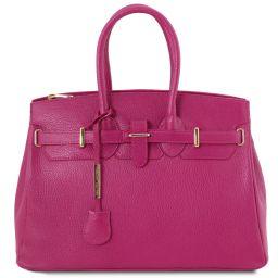 TL Bag Кожаная сумка с золотистой фурнитурой Фуксия TL141529