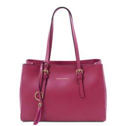 TL Bag Schultertasche aus Leder Fucsia TL142037