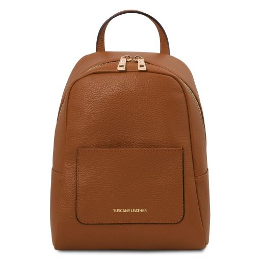 TL Bag Small soft leather backpack for women Cognac TL142052