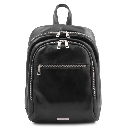 Perth 2 Compartments leather backpack Black TL142049