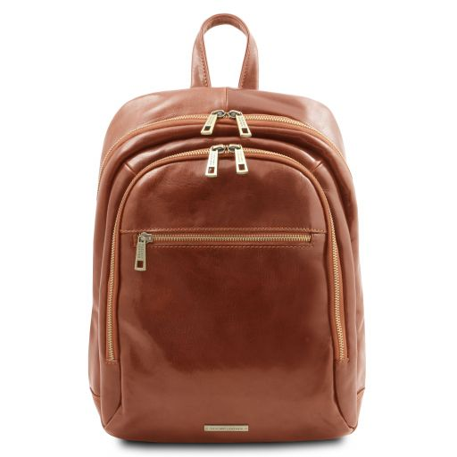 Perth 2 Compartments leather backpack Honey TL142049