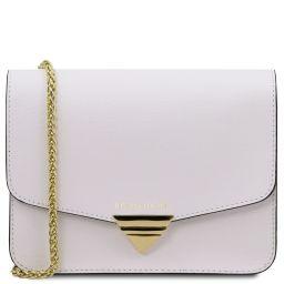 TL Bag Pochette in pelle Saffiano con tracolla a catena Bianco TL141954