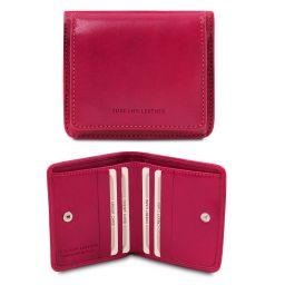 Elegante cartera en piel con monedero Fucsia TL142059