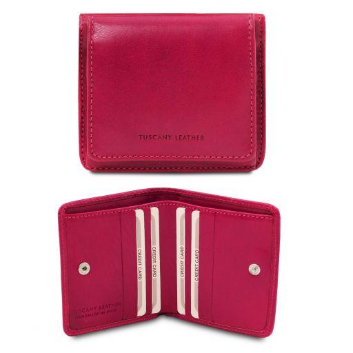 Esclusivo portafoglio in pelle con portamonete Fucsia TL142059
