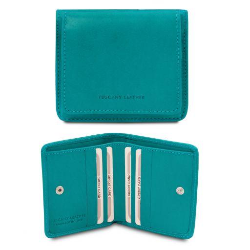 Elegante cartera en piel con monedero Turquoise TL142059