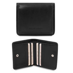 Esclusivo portafoglio in pelle con portamonete Nero TL142059