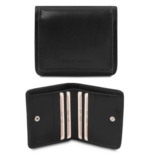 Exclusive leather wallet with coin pocket Black TL142059