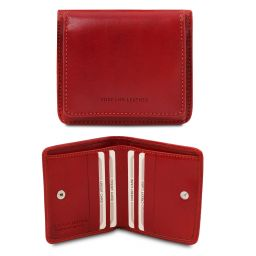 Exclusive leather wallet with coin pocket Red TL142059