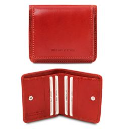 Exclusive leather wallet with coin pocket Brandy TL142059