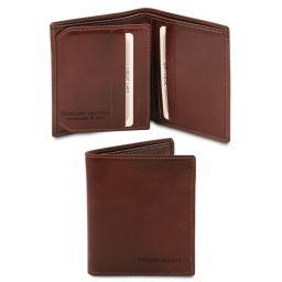 Exclusive 3 fold leather wallet for men Brown TL142057