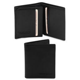Esclusivo portafoglio uomo in pelle 3 ante Nero TL142057