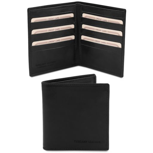 Exclusive 2 fold leather wallet for men Black TL142060