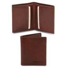 Esclusivo portafoglio uomo in pelle 2 ante Marrone TL142064
