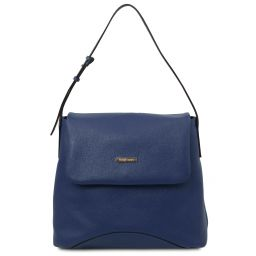 TL Bag Borsa a spalla in pelle morbida Blu scuro TL142082