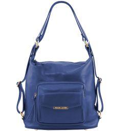 TL Bag Borsa donna in pelle convertibile a zaino Blu TL141535